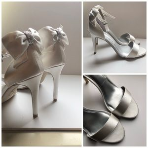 Shoes - Sweet White Satin Bow Wedding Sandals Shoes💕